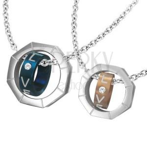 Prívesok dva diely - matica, dvojfarebné prstence