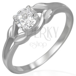 Oceľový zásnubný prsteň - číry zirkón v slučke