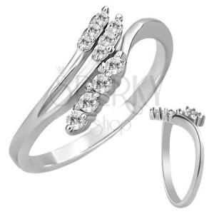 Oceľový prsteň - rozvetvenie so zirkónmi