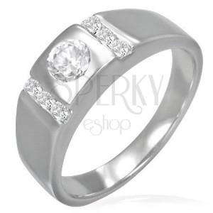 Snubný prsteň - okrúhle očko lemované zirkónovými pruhmi