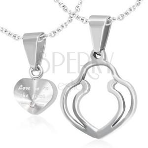 Prívesky pre dvojicu - srdce striebornej farby, dvojitý obrys srdca, zirkón