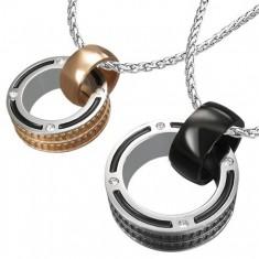 Šperky eshop - Prívesky pre dvojicu - prstence so zirkónom a okrajovou textúrou Z46.08