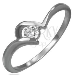 Oceľový snubný prsteň - zirkón, úchyt v tvare U