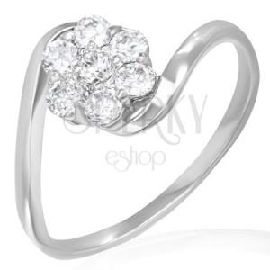 Snubný prsteň - dúhový kvietok zo zirkónov