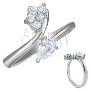 Zásnubný prsteň - zirkón slzička a päť malých zirkónikov