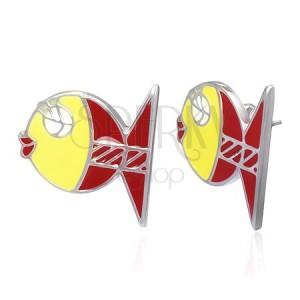 Náušnice z ocele - zamilovaná rybička, žltá a červená farba