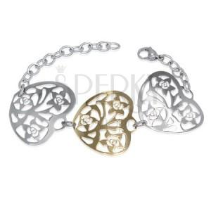 Náramok z ocele - tri väčšie filigránové srdcia