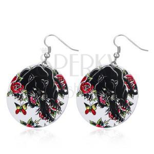 Oceľové náušnice - veľké kruhy, čierny panter, ruže, motýľ