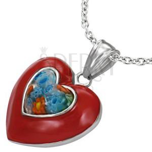 Glazúrovaný oceľový prívesok - červené srdce, kvet Millefiori