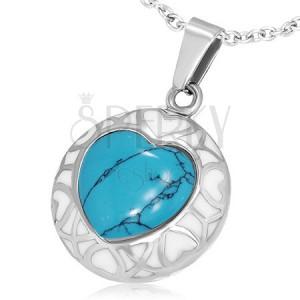 Dekorovaný oceľový prívesok - tyrkysové srdce