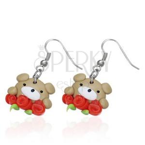 FIMO náušnice - hnedý medvedík s tromi ružičkami