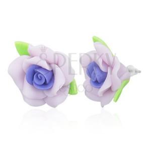 Puzetové FIMO náušnice - fialové ružičky s lístkami