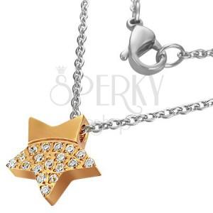 Oceľový náhrdelník - žiarivá hviezda zlatej farby so zirkónmi