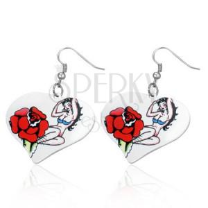 Srdiečkové oceľové náušnice - sexi lady, ruža