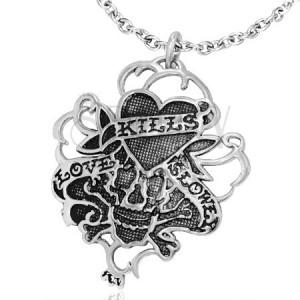 Vampírsky vintage oceľový prívesok - srdce a lebka