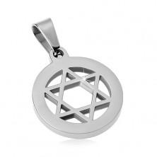 Prívesok z chirurgickej ocele, Dávidova hviezda v kruhu