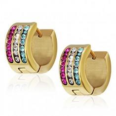 Šperky eshop - Oceľové náušnice - tyrkysový, číry a purpurový pás AA03.25