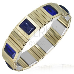 Strečový oceľový náramok - články zlatej farby, modré kamienky