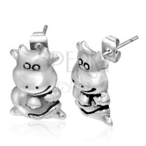 Oceľové náušnice - vysmiata kravička
