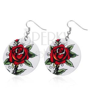 Okrúhle oceľové náušnice - červená ruža, biely kruh