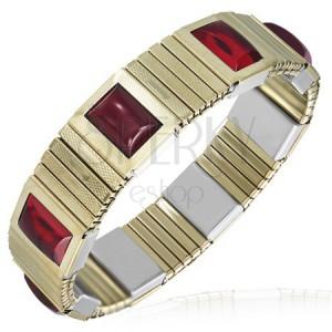Strečový oceľový náramok - úzke články, zlatá farba, červené kamienky