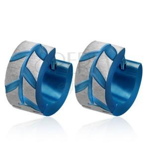 Modré oceľové náušnice - lístky Acacie, brúsené