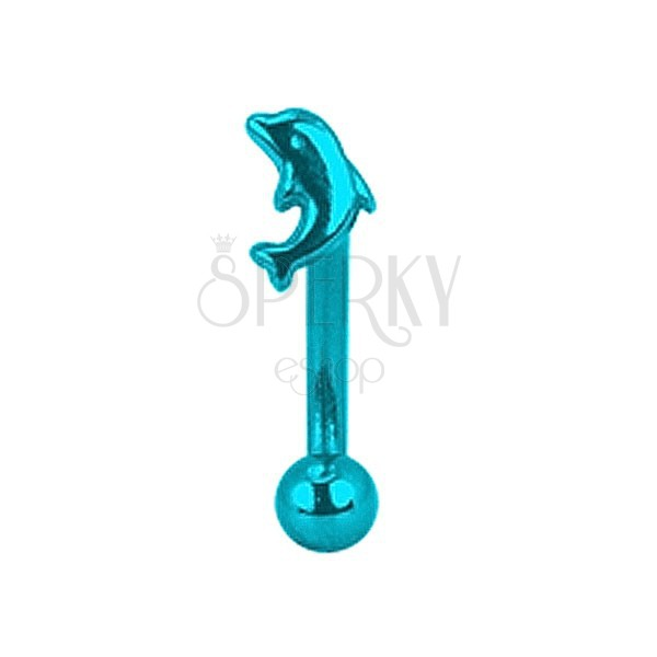Piercing do obočia titánový anodizovaný - modrý delfín