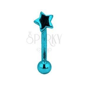 Piercing do obočia titánový anodizovaný - modrá hviezda