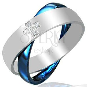 Oceľový dvojprsteň, modro - striebornej farby