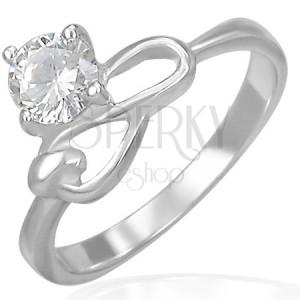 Oceľový zásnubný prsteň - číry zirkón a symbol nekonečna