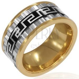 Mohutný trojfarebný prsteň z ocele - tri otáčavé prstence