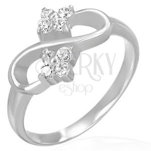 Zásnubný prsteň - osmička, zirkónové kvietky