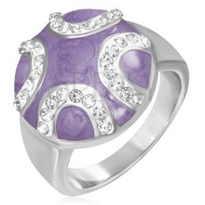 Oceľový prsteň - vypuklý fialový kruh, zirkónové polmesiace