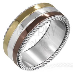 Trojfarebný prsteň z ocele - točené lanko na okraji
