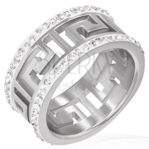 Lesklý oceľový prsteň s výrezom - grécky symbol, žiarivé pásy