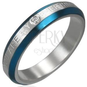 Snubný prstienok - modré pásy, zirkón, nápis