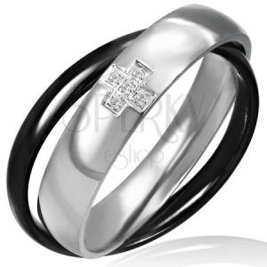 Dvojprsteň z ocele - čiernej a striebornej farby, krížik