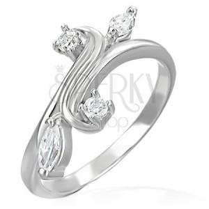 Snubný prsteň - rozvetvenie ukončené so zirkónmi