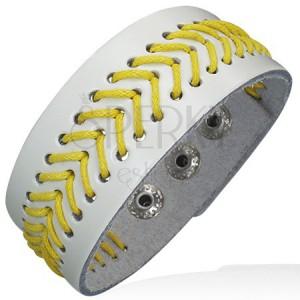 Prešívaný náramok z kože - žltá šnúrka