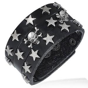 Čierny náramok z umelej kože - hviezdy a lebky