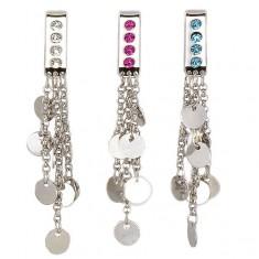 Šperky eshop - Šperk na plavky - visiace krúžky na retiazkách G3.23 - Farba zirkónu: Aqua modrá - Q