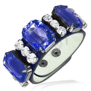 Kožený náramok - tri kráľovsky modré kameňe