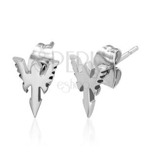 Puzetové náušnice z ocele - šíp s krídlami