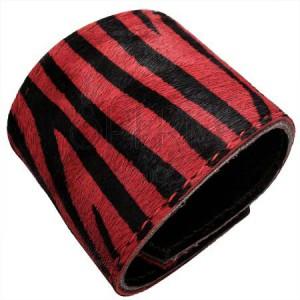 Koženkový náramok - tigrovaná kožušinka, červený
