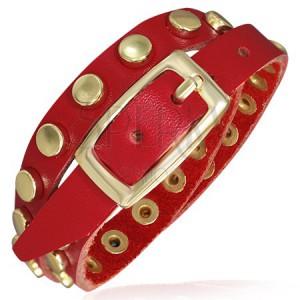 Červený kožený náramok - pásik s nitmi zlatej farby
