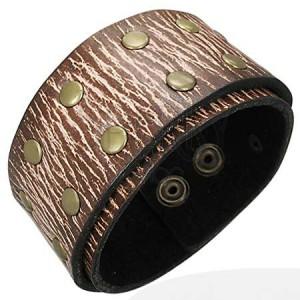 Kožený náramok - hnedá štruktúra, nity