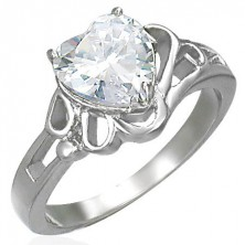 Dámsky lesklý oceľový prsteň, veľké číre zirkónové srdce