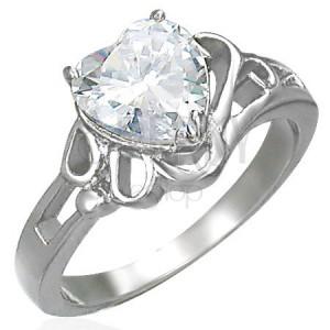 Dámsky lesklý oceľový prsteň so zirkónom veľké srdce