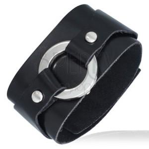 Čierny kožený náramok - okrúhla pracka