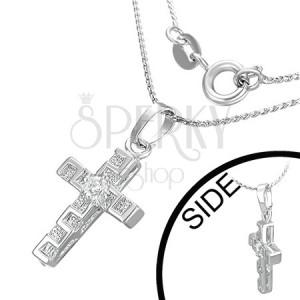 Náhrdelník - kríž, zirkón, grécky kľúč